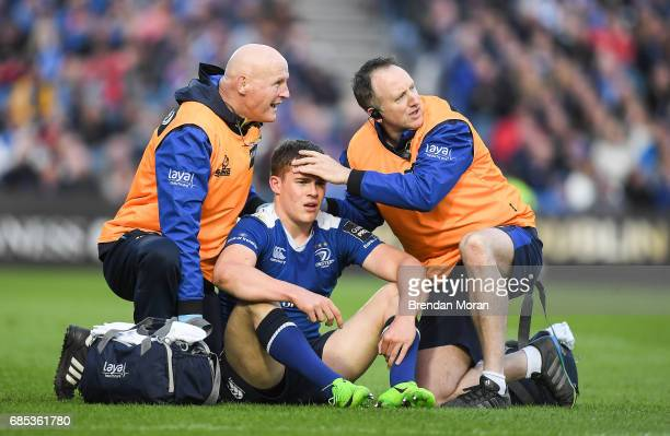 Dublin Ireland 19 May 2017 Garry Ringrose of Leinster is attended to by team doctor Dr Jim McShane left and team physio Garreth Farrell during the...