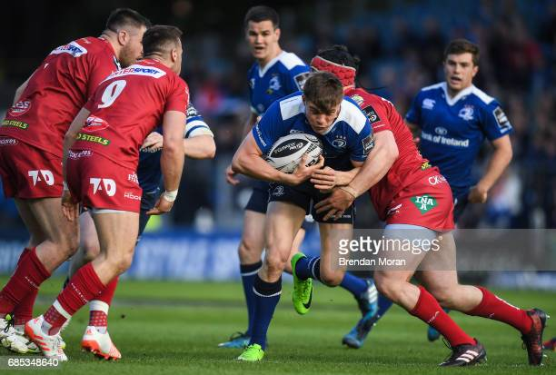 Dublin Ireland 19 May 2017 Garry Ringrose of Leinster is tackled by Ryan Elias of Scarlets during the Guinness PRO12 SemiFinal match between Leinster...