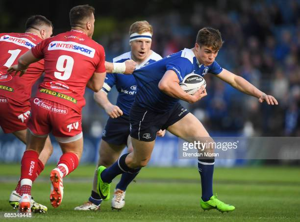 Dublin Ireland 19 May 2017 Garry Ringrose of Leinster is tackled by Rob Evans of Scarlets during the Guinness PRO12 SemiFinal match between Leinster...