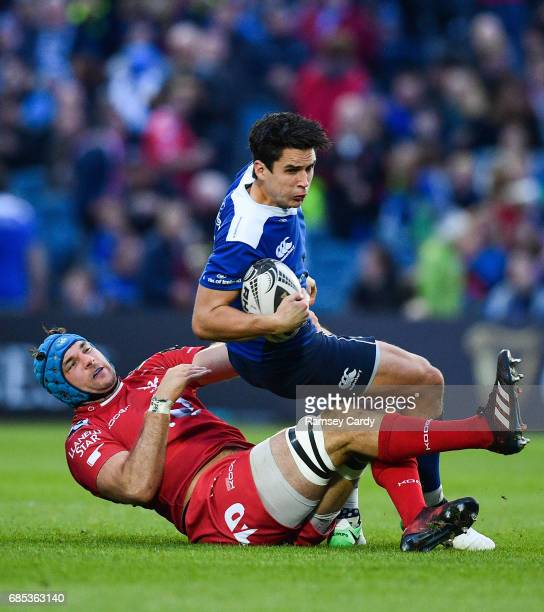Dublin Ireland 19 May 2017 Joey Carbery of Leinster is tackled by Tadhg Beirne of Scarlets during the Guinness PRO12 SemiFinal match between Leinster...