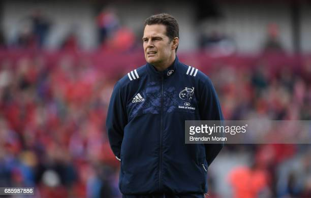 Dublin Ireland 19 May 2017 Munster director of rugby Rassie Erasmus before the Guinness PRO12 SemiFinal match between Leinster and Scarlets at the...