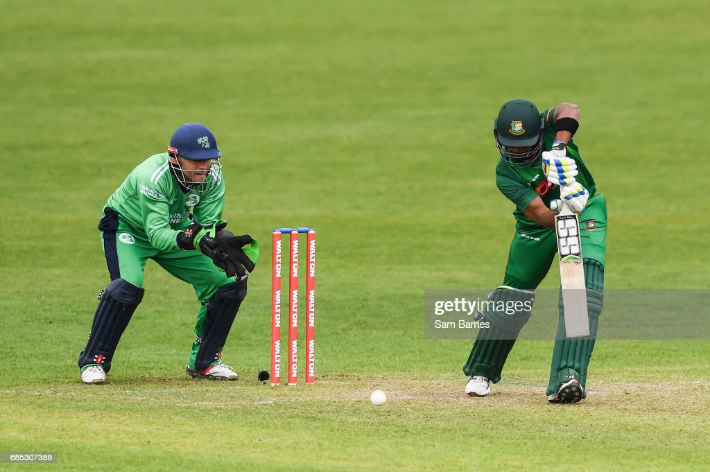 Dublin , Ireland - 19 May 2017; Sabbir Rahman of Bangladesh and Niall O'Brien of Ireland during the One Day International match between Ireland and Bangladesh at Malahide Cricket Club in Dublin.