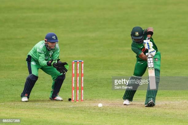 Dublin Ireland 19 May 2017 Sabbir Rahman of Bangladesh and Niall O'Brien of Ireland during the One Day International match between Ireland and...