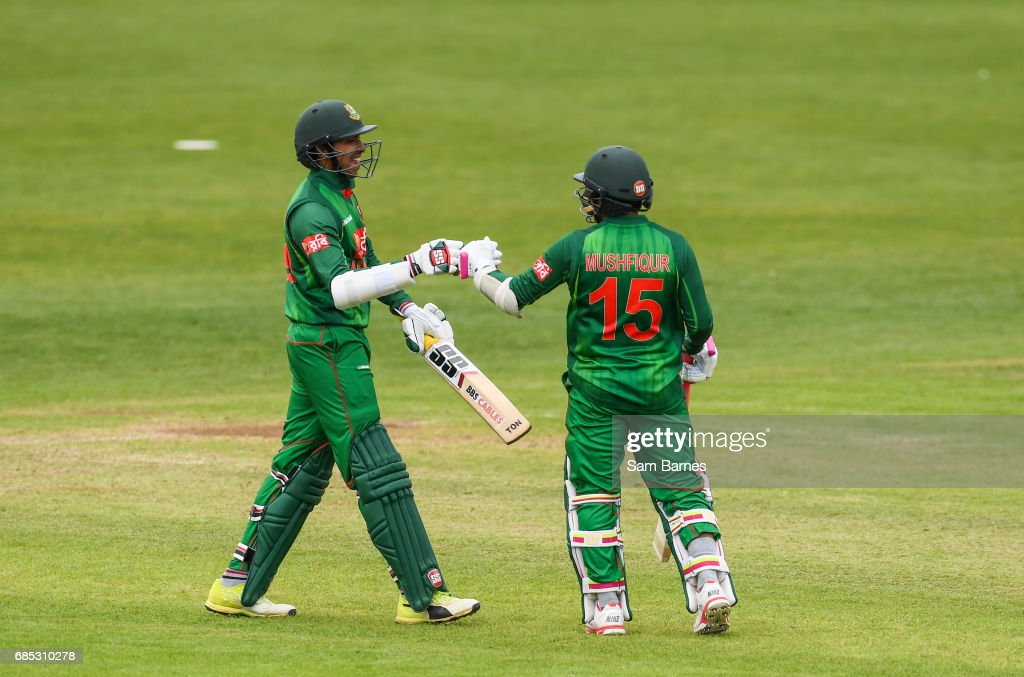 Dublin , Ireland - 19 May 2017; Soumya Sarkar of Bangladesh and Mushfizur Rahim celebrate following the One Day International match between Ireland and Bangladesh at Malahide Cricket Club in Dublin.
