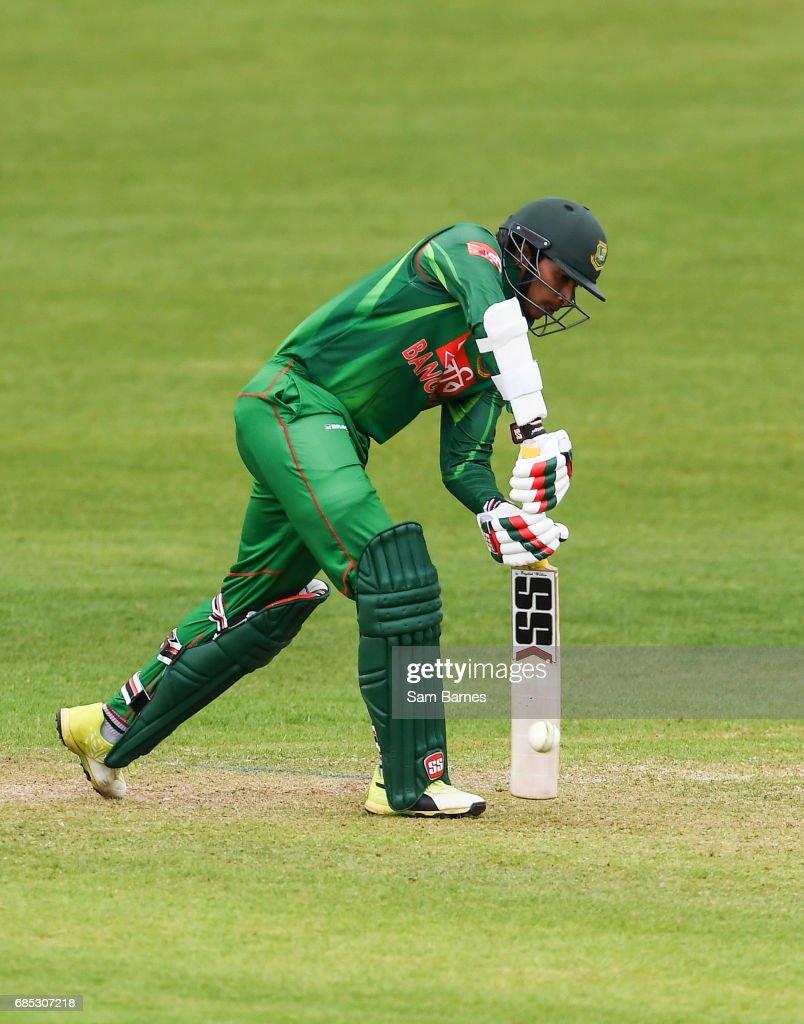 Dublin , Ireland - 19 May 2017; Soumya Sarkar of Bangladesh and Niall O'Brien of Ireland during the One Day International match between Ireland and Bangladesh at Malahide Cricket Club in Dublin.