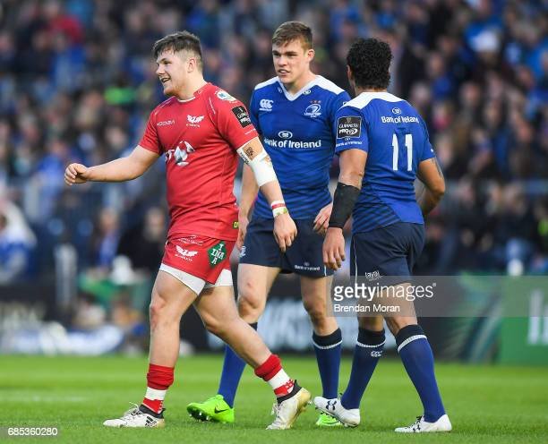 Dublin Ireland 19 May 2017 Steffan Evans of Scarlets walks past Garry Ringrose of Leinster after being show a red card for a tackle on Ringrose...