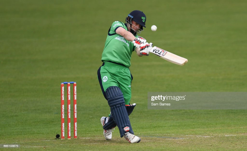Dublin , Ireland - 19 May 2017; William Porterfield of Ireland hits a 6 during the One Day International match between Ireland and Bangladesh at Malahide Cricket Club in Dublin.