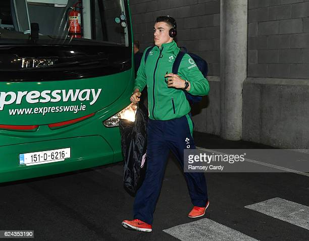 Dublin Ireland 19 November 2016 Garry Ringrose of Ireland arrives ahead of the Autumn International match between Ireland and New Zealand at the...