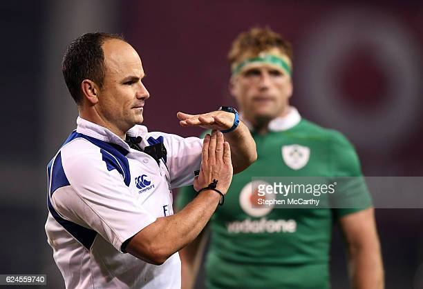 Dublin Ireland 19 November 2016 Referee Jaco Peyper during the Autumn International match between Ireland and New Zealand at the Aviva Stadium...