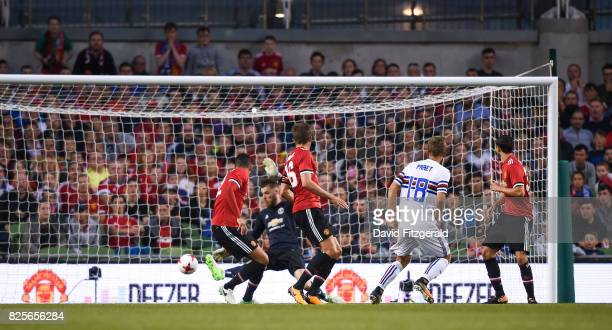 Dublin Ireland 2 August 2017 Dennis Praet of Sampdoria scores his side's first goal during the International Champions Cup match between Manchester...