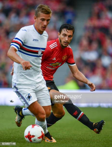 Dublin Ireland 2 August 2017 Matteo Darmian of Manchester United chases down Dennis Praet of Sampdoria during the International Champions Cup match...