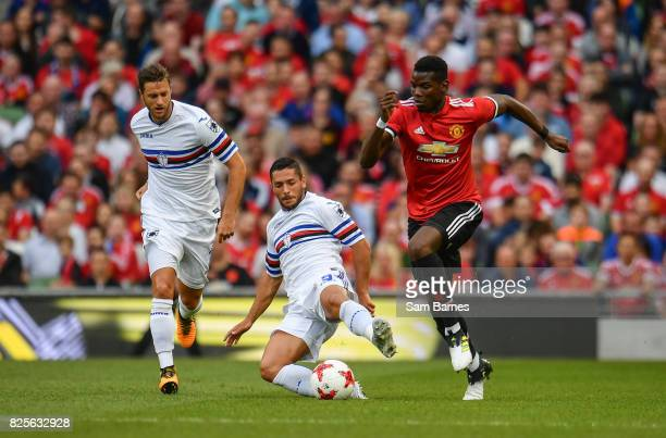 Dublin Ireland 2 August 2017 Paul Pogba of Manchester United in action against Luis Fernando Muriel of Sampdoria during the International Champions...