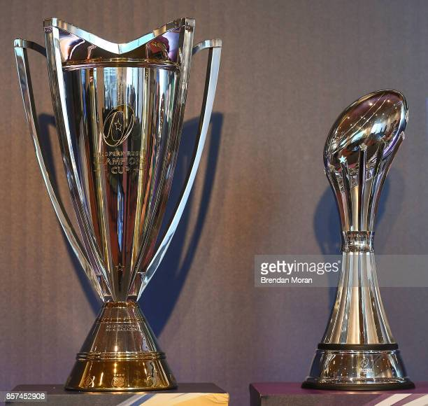 Dublin Ireland 2 October 2017 A general view of the European Rugby Champions Cup left and the European Rugby Challenge Cup at the European Rugby...