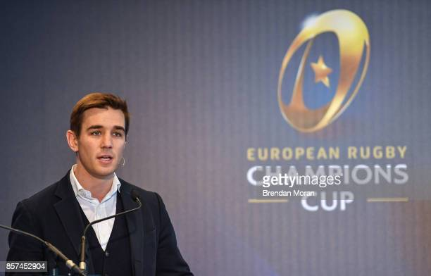 Dublin Ireland 2 October 2017 Event MC Alex Payne during the European Rugby Champions Cup and Challenge Cup 2017/18 season launch for PRO14 clubs at...