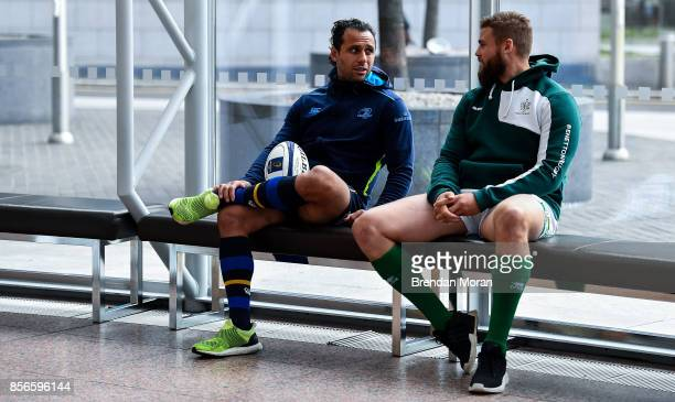 Dublin Ireland 2 October 2017 Leinster captain Isa Nacewa left and Dean Budd of Benetton Rugby in attendance at the European Rugby Champions Cup and...