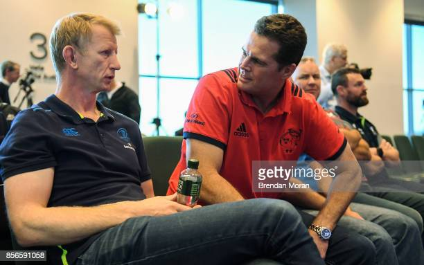 Dublin Ireland 2 October 2017 Leinster head coach Leo Cullen left and Munster head coach Rassie Erasmus in attendance at the European Rugby Champions...