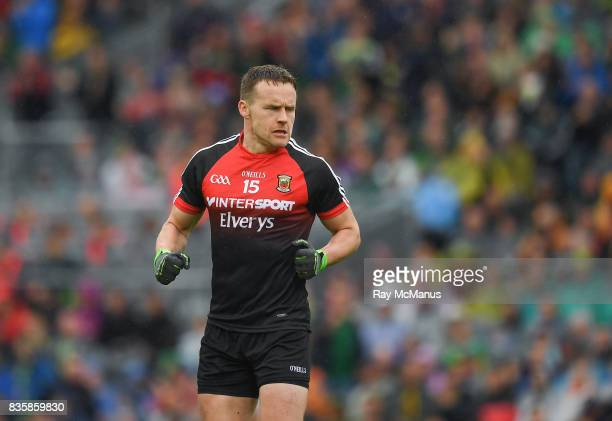 Dublin Ireland 20 August 2017 Andy Moran celebrates scoring the first score a goal for Mayo in the 5th minute of the GAA Football AllIreland Senior...