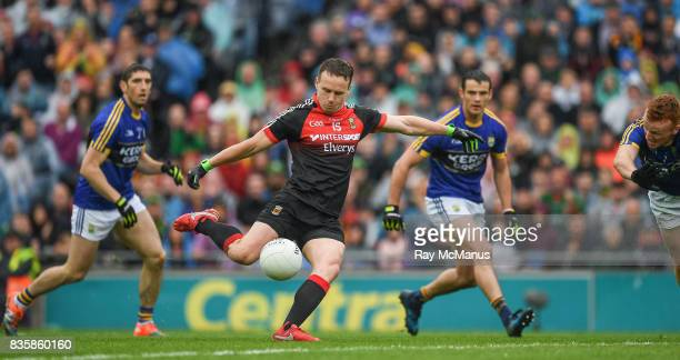 Dublin Ireland 20 August 2017 Andy Moran scores the first score a goal for Mayo in the 5th minute of the GAA Football AllIreland Senior Championship...