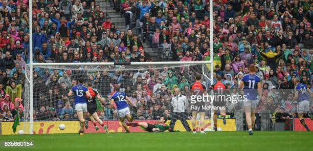 Dublin Ireland 20 August 2017 Stephen O'Brien of Kerry shoots past the Mayo goalkeeper David Clarke to score a first half goal during the GAA...