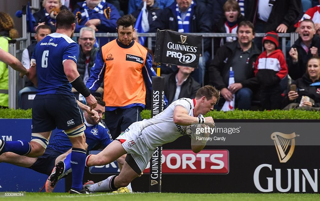 Dublin Ireland 20 May 2016 Craig Gilroy of Ulster scores his side's first try of the game during the Guinness PRO12 Playoff match between Leinster...