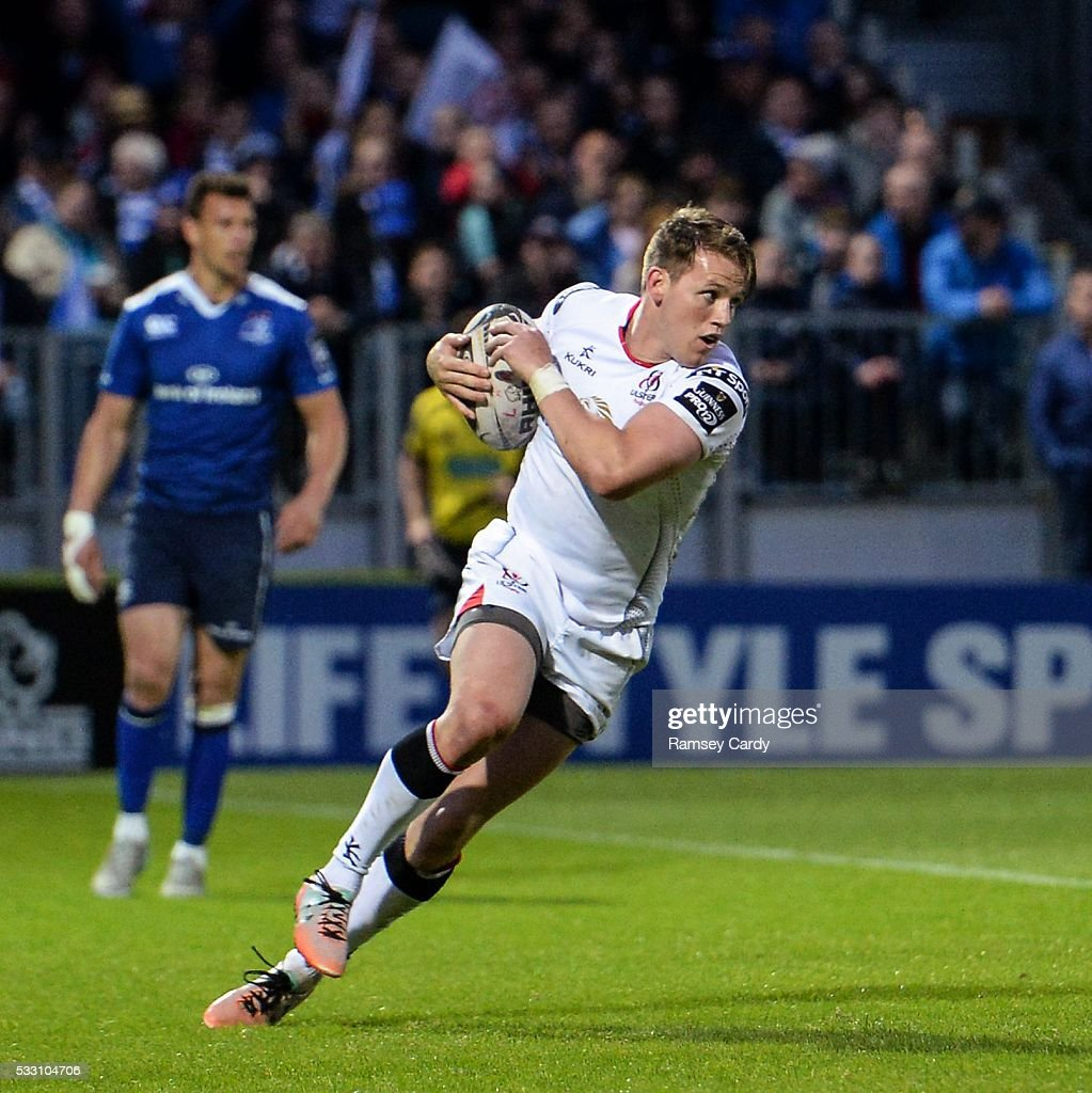 Dublin Ireland 20 May 2016 Craig Gilroy of Ulster scores his side's second try of the game during the Guinness PRO12 Playoff match between Leinster...