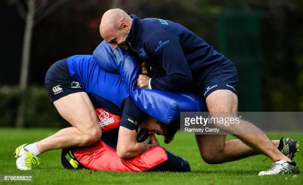 Dublin Ireland 20 November 2017 Garry Ringrose and Elite Player Development Officer Hugh Hogan during Leinster rugby squad training at Leinster Rugby...