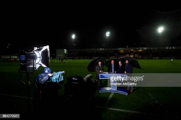 Dublin Ireland 20 October 2017 eir Sport presenter Connor Morris with analysts from left Johnny McDonnell Brian Kerr and Damien Lynch prior to the...