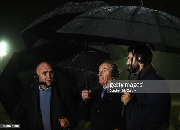 Dublin Ireland 20 October 2017 Former St Patrick's Athletic managers Brian Kerr centre and Johnny McDonnell and former player Damien Lynch during the...