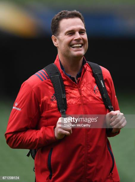 Dublin Ireland 21 April 2017 Munster director of rugby Rassie Erasmus during their captain's run at the Aviva Stadium in Dublin