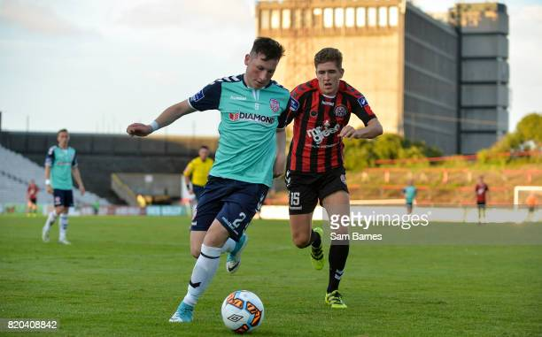 Dublin Ireland 21 July 2017 Conor McDermott of Derry City in action against Oscar Brennan of Bohemians during the SSE Airtricity League Premier...