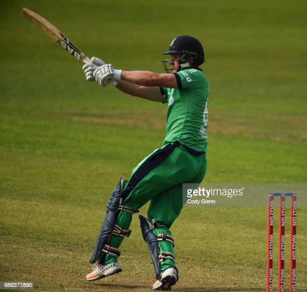 Dublin Ireland 21 May 2017 Barry McCarthy of Ireland hits a boundary during the One Day International match between Ireland and New Zealand at...