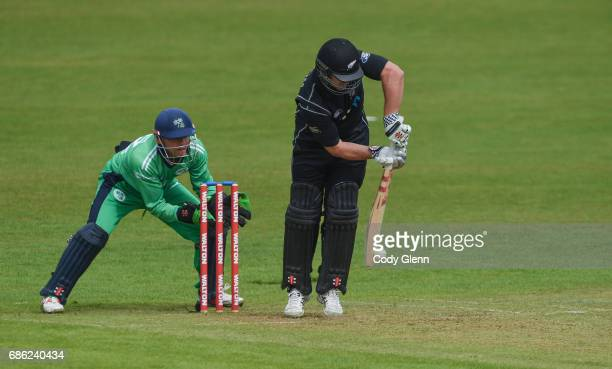 Dublin Ireland 21 May 2017 Neil Broom of New Zealand is bowled to by Simi Singh of Ireland in front of wicket keeper Niall O'Brien of Ireland during...