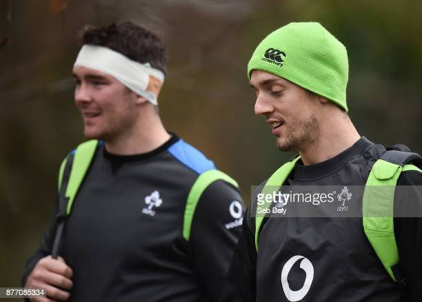 Dublin Ireland 21 November 2017 Darren Sweetnam right and Peter O'Mahony arrive prior to Ireland rugby squad training at Carton House in Maynooth Co...