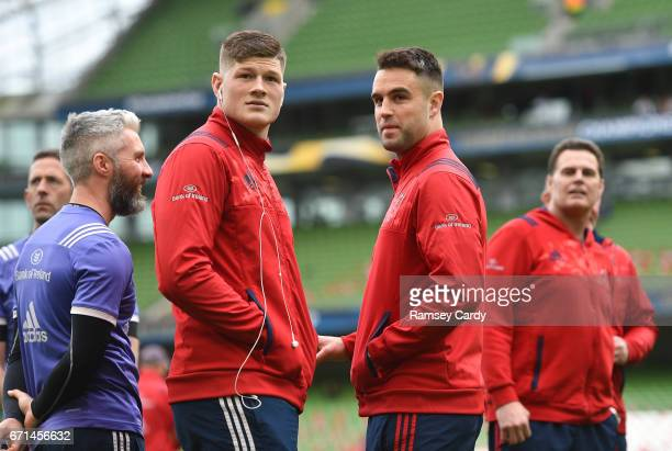 Dublin Ireland 22 April 2017 Jack O'Donoghue left and Conor Murray of Munster ahead of the European Rugby Champions Cup SemiFinal match between...