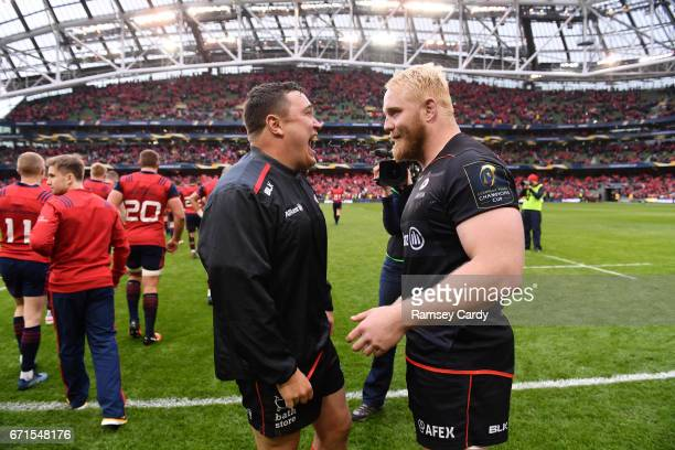 Dublin Ireland 22 April 2017 Jamie George left and Vincent Koch of Saracens in conversation following the European Rugby Champions Cup SemiFinal...