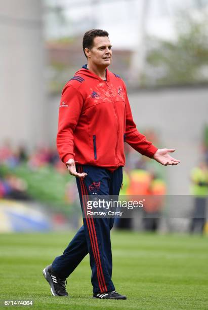 Dublin Ireland 22 April 2017 Munster Director of Rugby Rassie Erasmus during the European Rugby Champions Cup SemiFinal match between Munster and...