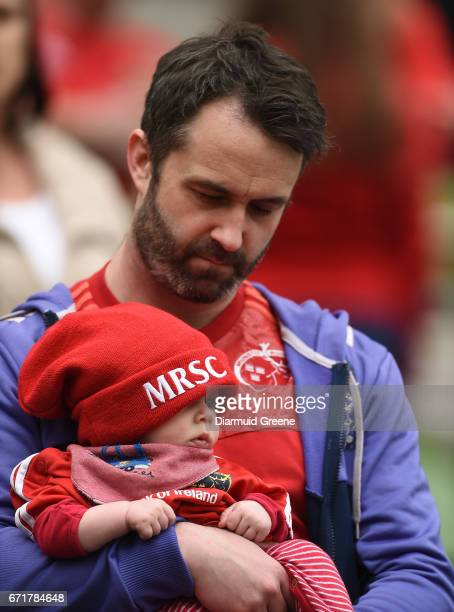 Dublin Ireland 22 April 2017 Munster supporters Conor O'Brien along with his 4monthold son Ollie O'Brien from Limerick ahead the European Rugby...