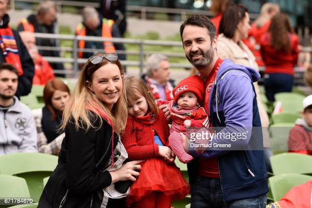 Dublin Ireland 22 April 2017 Munster supporters Olivia O'Sullivan and Conor O'Brien along with their daughter Edon O'Brien aged 3 and son Ollie...