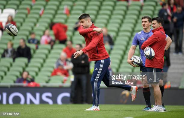 Dublin Ireland 22 April 2017 Munster's injured scrum half Conor Murray throws a pass ahead of the European Rugby Champions Cup SemiFinal match...