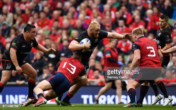 Dublin Ireland 22 April 2017 Vincent Koch of Saracens is tackled by Jaco Taute of Munster during the European Rugby Champions Cup SemiFinal match...