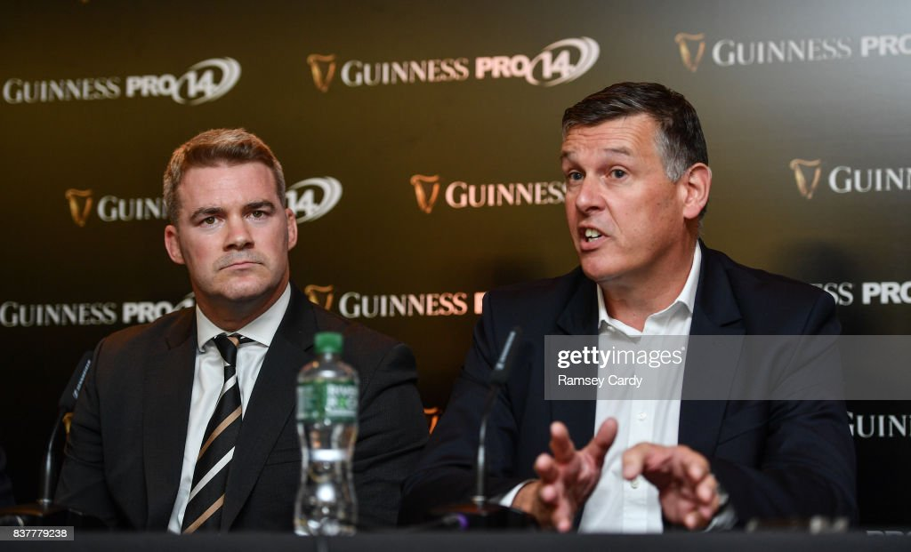 Dublin , Ireland - 23 August 2017; Philip Browne, Chief Executive, IRFU, right, and Martin Anayi, Chief Executive, PRO14 Rugby, at the Guinness PRO14 season launch at the Aviva Stadium in Dublin.