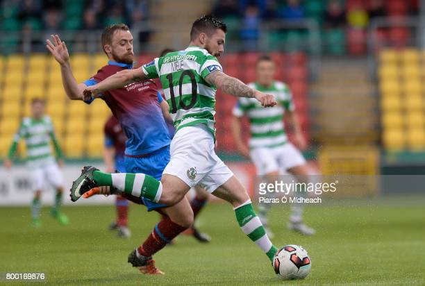Dublin Ireland 23 June 2017 Brandon Miele of Shamrock Rovers in action against Ryan McEvoy of Drogheda United during the SSE Airtricity League...