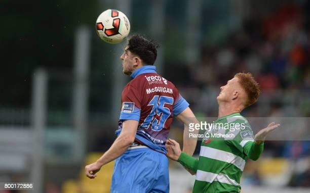 Dublin Ireland 23 June 2017 Ciaran McGuigan of Drogheda United in action against Gary Shaw of Shamrock Rovers during the SSE Airtricity League...