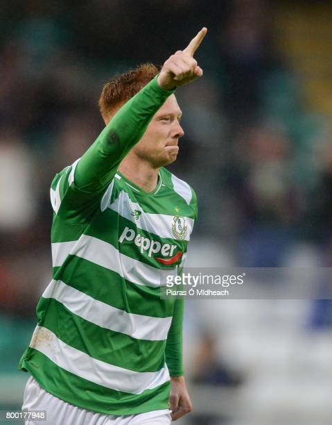 Dublin Ireland 23 June 2017 Gary Shaw of Shamrock Rovers celebrates after scoring his side's first goal during the SSE Airtricity League Premier...