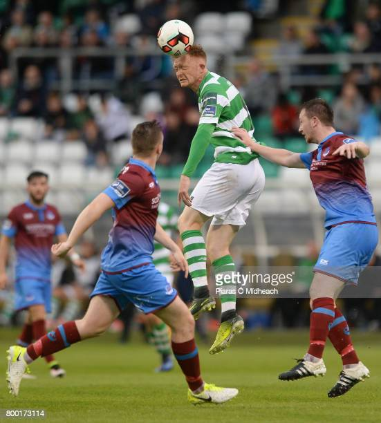 Dublin Ireland 23 June 2017 Gary Shaw of Shamrock Rovers in action against Richie Purdy left and Luke Gallagher of Drogheda United during the SSE...