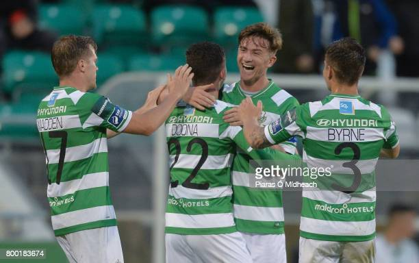 Dublin Ireland 23 June 2017 James Doona of Shamrock Rovers second from left celebrates scoring his side's third goal with teammates from left Simon...