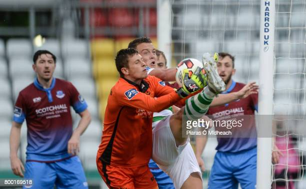 Dublin Ireland 23 June 2017 Michael OConnor of Shamrock Rovers in action against Stephen McGuinness of Drogheda United during the SSE Airtricity...