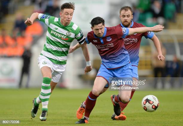 Dublin Ireland 23 June 2017 Ronan Finn of Shamrock Rovers in action against Ciaran McGuigan and Ryan McEvoy behind of Drogheda United during the SSE...
