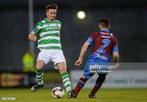 Dublin Ireland 23 June 2017 Ronan Finn of Shamrock Rovers in action against Colm Deasy of Drogheda United during the SSE Airtricity League Premier...