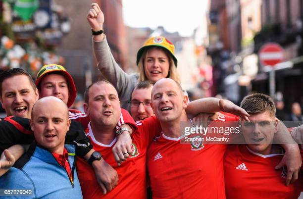 Dublin Ireland 24 March 2017 Welsh supporters in Temple Bar ahead of the FIFA World Cup Qualifier Group D match between Republic of Ireland and Wales...